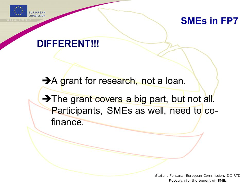 Stefano Fontana, European Commission, DG RTD Research for the benefit of SMEs Capacities: New calls Call FP7-SME-2009-1 : Coordination and Support Action Publication: 03 September 2008 Closing : 27 January 2009 Indicative budget: 4 M € Call FP7-SME-2008-2 : Research for SME Associations Publication: 03 September 2008 Closing: 18 December 2008 Indicative budget: 78.55 M € Eurostars art 169: Aiming at 100 M€ EC contribution on a 400 M€ total budget)