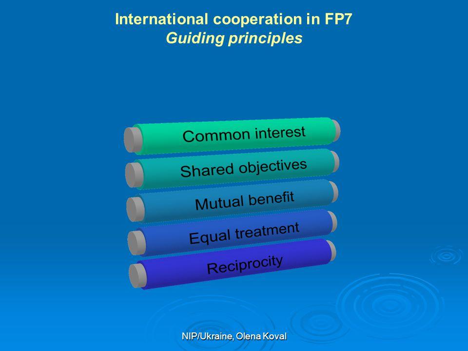 NIP/Ukraine, Olena Koval International cooperation in FP7 Guiding principles