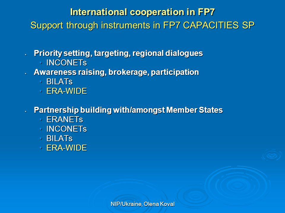 NIP/Ukraine, Olena Koval International cooperation in FP7 Support through instruments in FP7 CAPACITIES SP Priority setting, targeting, regional dialo