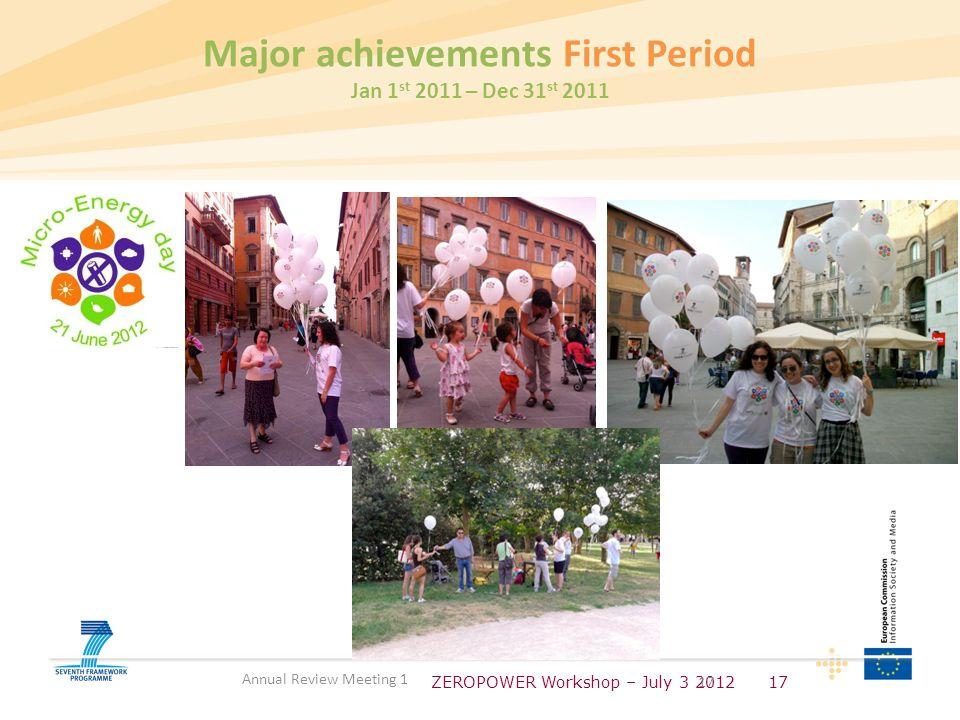 ZEROPOWER Workshop – July 3 201217 Annual Review Meeting 1 Major achievements First Period Jan 1 st 2011 – Dec 31 st 2011