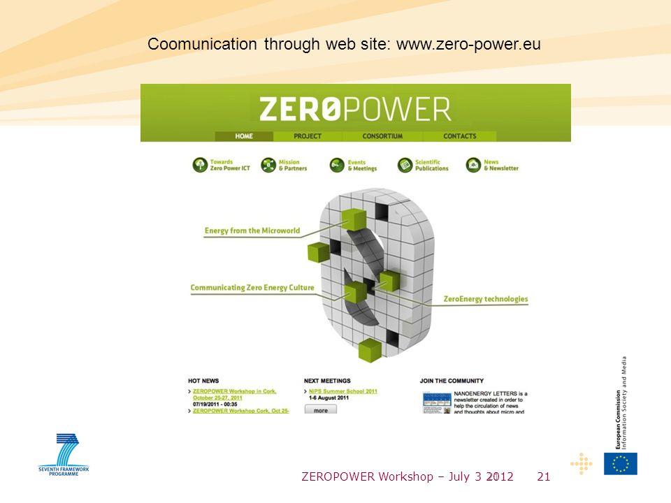 ZEROPOWER Workshop – July 3 201221 Coomunication through web site: www.zero-power.eu