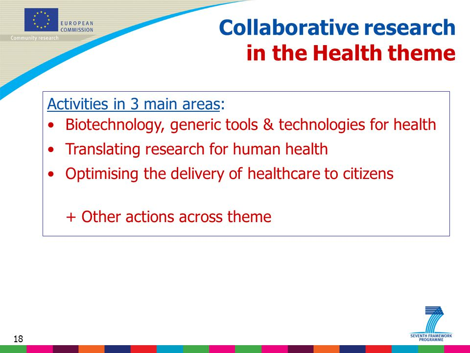 18 Collaborative research in the Health theme Activities in 3 main areas: Biotechnology, generic tools & technologies for health Translating research for human health Optimising the delivery of healthcare to citizens + Other actions across theme