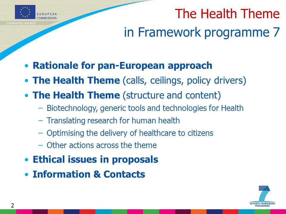 2 The Health Theme in Framework programme 7 Rationale for pan-European approach The Health Theme (calls, ceilings, policy drivers) The Health Theme (structure and content) –Biotechnology, generic tools and technologies for Health –Translating research for human health –Optimising the delivery of healthcare to citizens –Other actions across the theme Ethical issues in proposals Information & Contacts