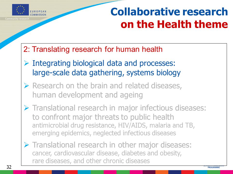 32 Collaborative research on the Health theme 2: Translating research for human health  Integrating biological data and processes: large-scale data gathering, systems biology  Research on the brain and related diseases, human development and ageing  Translational research in major infectious diseases: to confront major threats to public health antimicrobial drug resistance, HIV/AIDS, malaria and TB, emerging epidemics, neglected infectious diseases  Translational research in other major diseases: cancer, cardiovascular disease, diabetes and obesity, rare diseases, and other chronic diseases