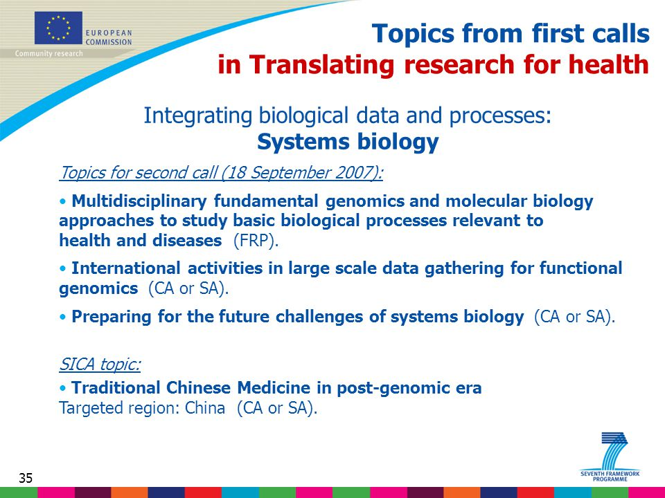 35 Topics from first calls in Translating research for health Integrating biological data and processes: Systems biology Topics for second call (18 September 2007): Multidisciplinary fundamental genomics and molecular biology approaches to study basic biological processes relevant to health and diseases (FRP).
