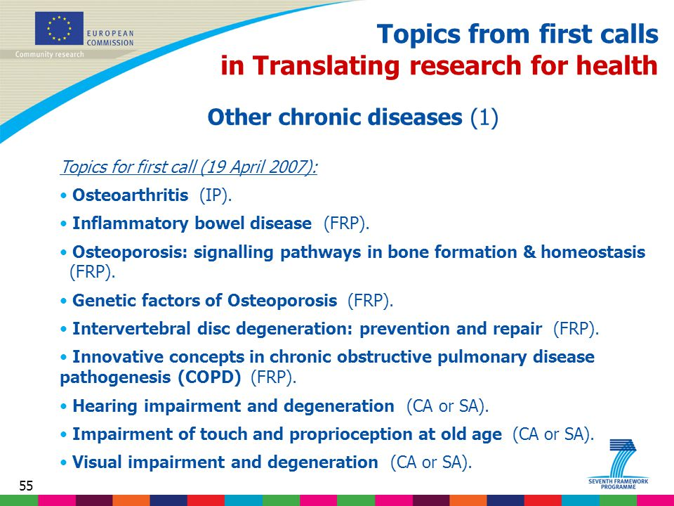 55 Topics from first calls in Translating research for health Other chronic diseases (1) Topics for first call (19 April 2007): Osteoarthritis (IP).