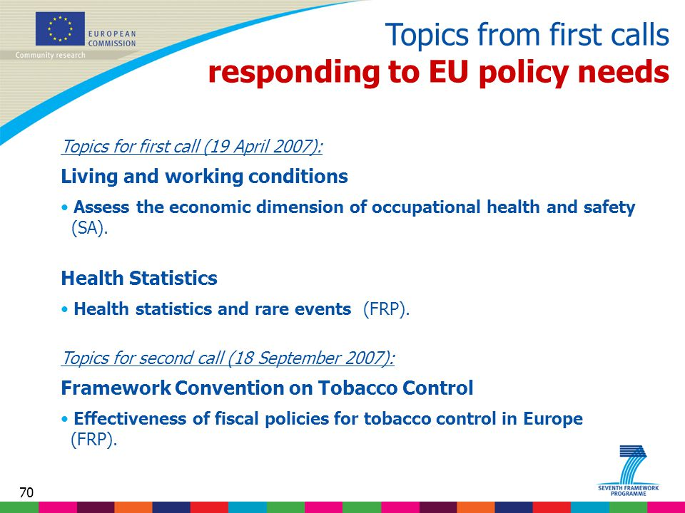 70 Topics from first calls responding to EU policy needs Topics for first call (19 April 2007): Living and working conditions Assess the economic dimension of occupational health and safety (SA).