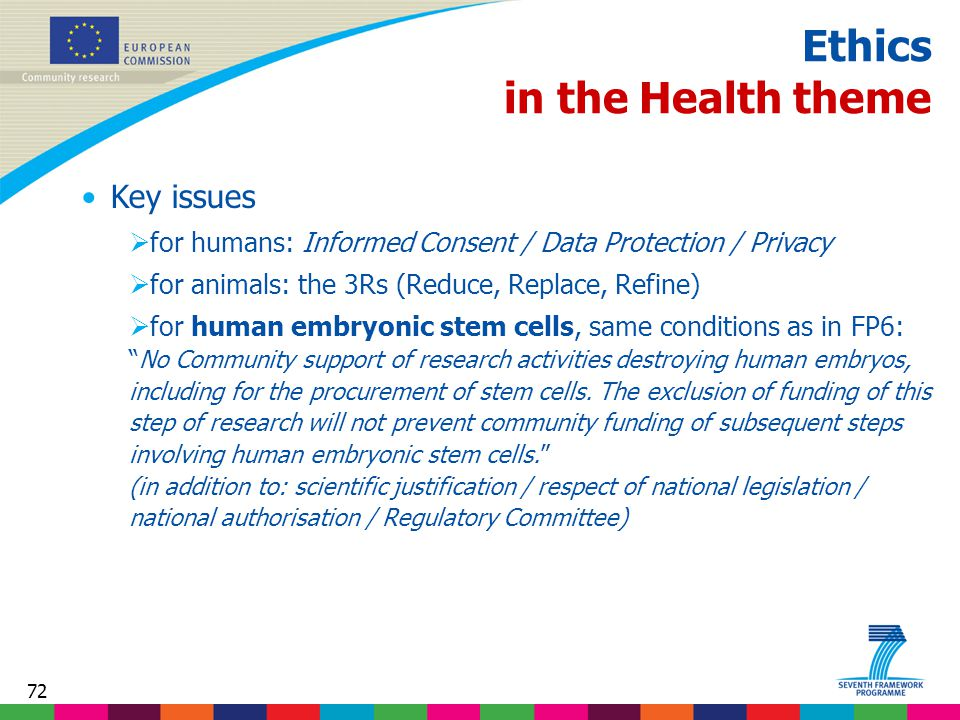 72 Ethics in the Health theme Key issues  for humans: Informed Consent / Data Protection / Privacy  for animals: the 3Rs (Reduce, Replace, Refine)  for human embryonic stem cells, same conditions as in FP6: No Community support of research activities destroying human embryos, including for the procurement of stem cells.