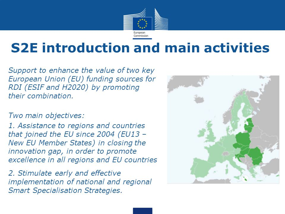Support to enhance the value of two key European Union (EU) funding sources for RDI (ESIF and H2020) by promoting their combination. Two main objectiv
