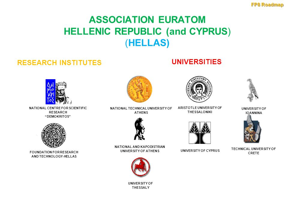 ASSOCIATION EURATOM HELLENIC REPUBLIC (and CYPRUS) (HELLAS) FOUNDATION FOR RESEARCH AND TECHNOLOGY-HELLAS NATIONAL CENTRE FOR SCIENTIFIC RESEARCH DEMOKRITOS RESEARCH INSTITUTES NATIONAL TECHNICAL UNIVERSITY OF ATHENS NATIONAL AND KAPODISTRIAN UNIVERSITY OF ATHENS UNIVERSITY OF THESSALY ARISTOTLE UNIVERSITY OF THESSALONIKI UNIVERSITY OF CYPRUS UNIVERSITY OF IOANNINA TECHNICAL UNIVERSITY OF CRETE UNIVERSITIES FP8 Roadmap