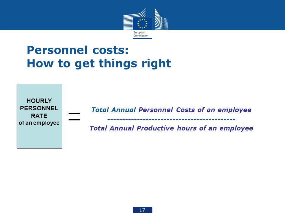17 Personnel costs: How to get things right Total Annual Personnel Costs of an employee ------------------------------------------- Total Annual Productive hours of an employee HOURLY PERSONNEL RATE of an employee