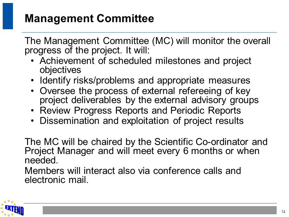 14 Management Committee The Management Committee (MC) will monitor the overall progress of the project. It will: Achievement of scheduled milestones a