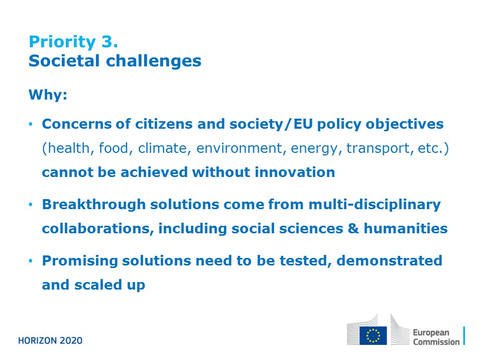Priority 3. Societal challenges Why: Concerns of citizens and society/EU policy objectives (health, food, climate, environment, energy, transport, etc
