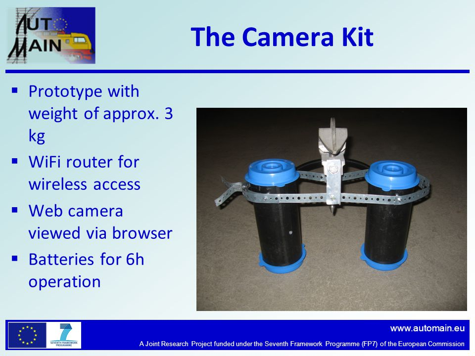 www.automain.eu A Joint Research Project funded under the Seventh Framework Programme (FP7) of the European Commission The Camera Kit  Prototype with weight of approx.