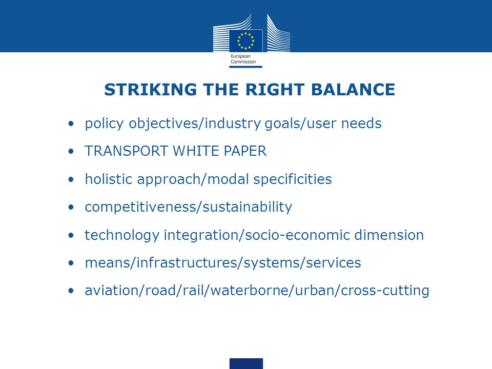 STRIKING THE RIGHT BALANCE policy objectives/industry goals/user needs TRANSPORT WHITE PAPER holistic approach/modal specificities competitiveness/sus