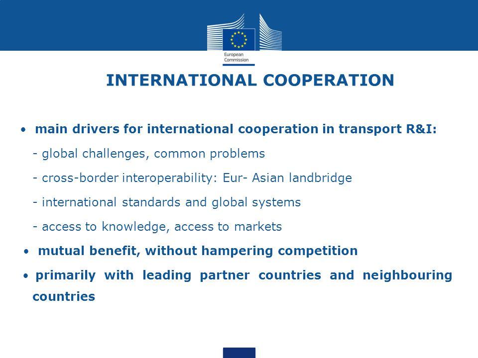 INTERNATIONAL COOPERATION main drivers for international cooperation in transport R&I: - global challenges, common problems - cross-border interoperab
