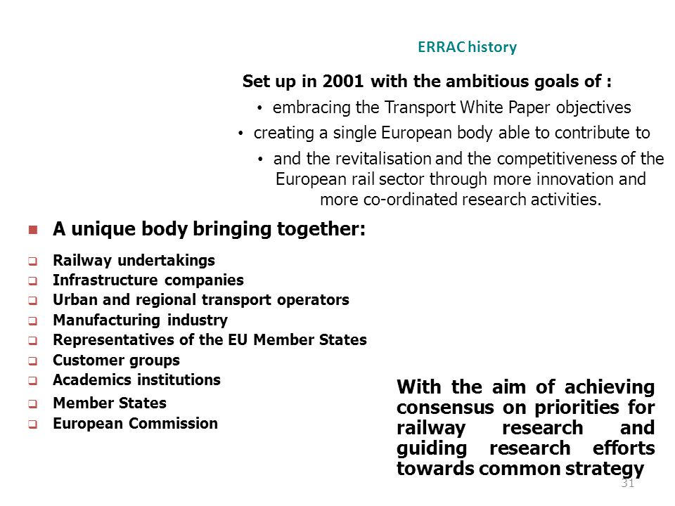 31 ERRAC history A unique body bringing together:  Railway undertakings  Infrastructure companies  Urban and regional transport operators  Manufac