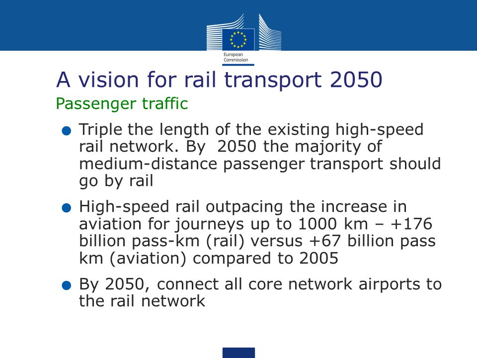 A vision for rail transport 2050 Passenger traffic. Triple the length of the existing high-speed rail network. By 2050 the majority of medium-distance