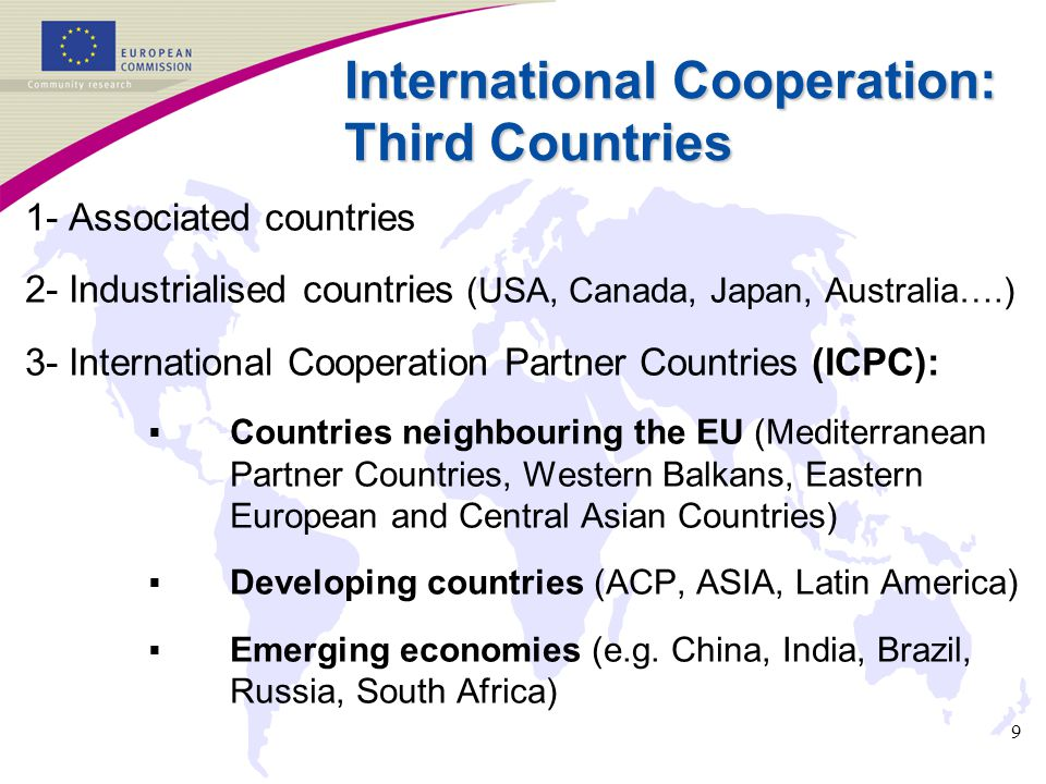9 International Cooperation: Third Countries 1- Associated countries 2- Industrialised countries (USA, Canada, Japan, Australia….) 3- International Co
