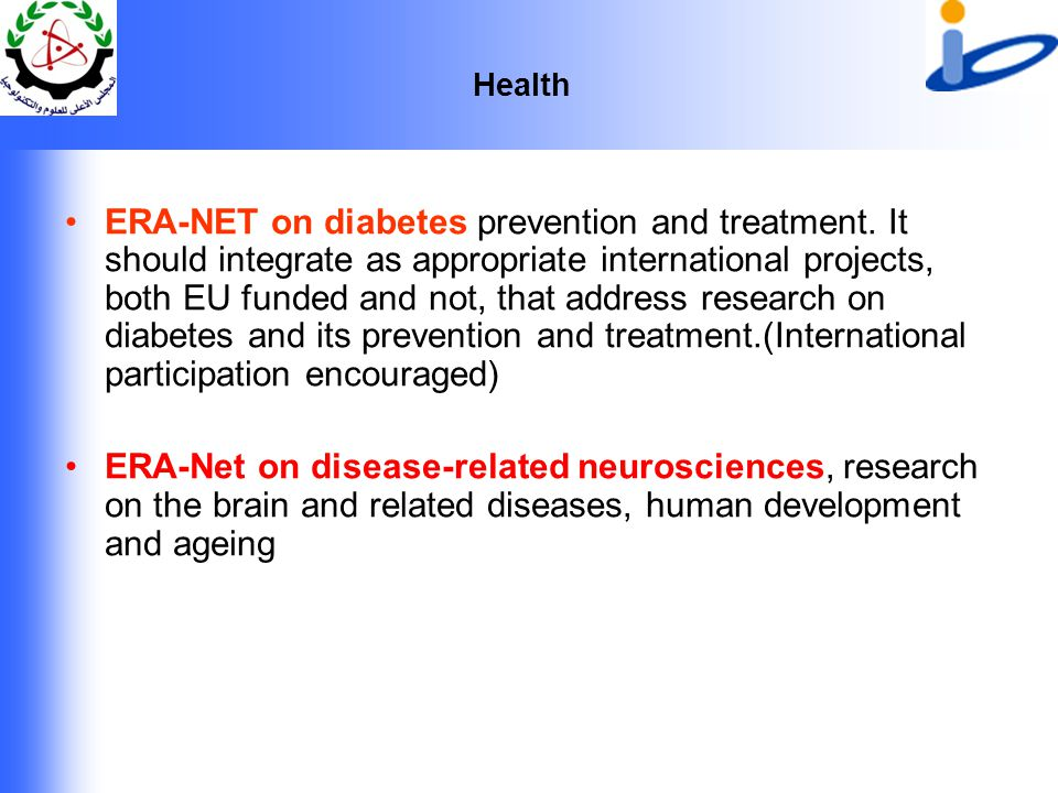 Health ERA-NET on diabetes prevention and treatment.