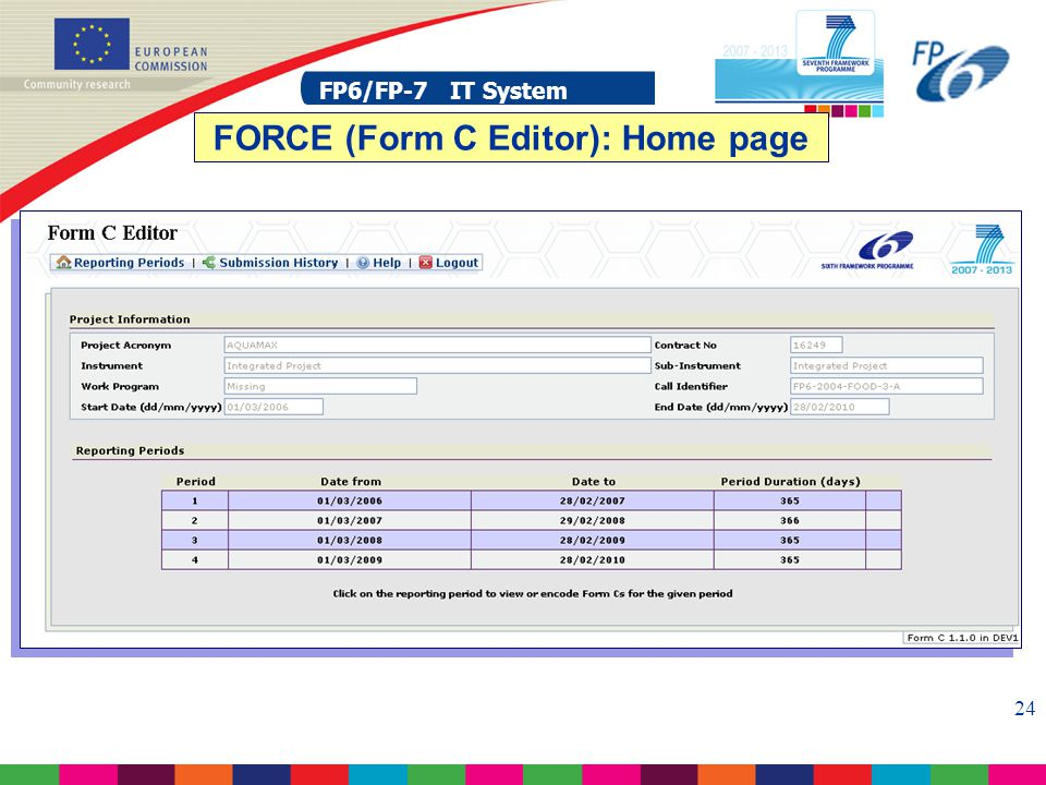 FP6/FP-7 IT System 24 FP6/FP-7 IT System FORCE (Form C Editor): Home page