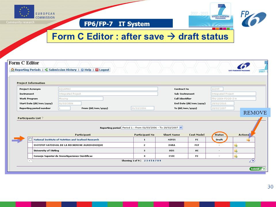 FP6/FP-7 IT System 30 FP6/FP-7 IT System Form C Editor : after save  draft status REMOVE