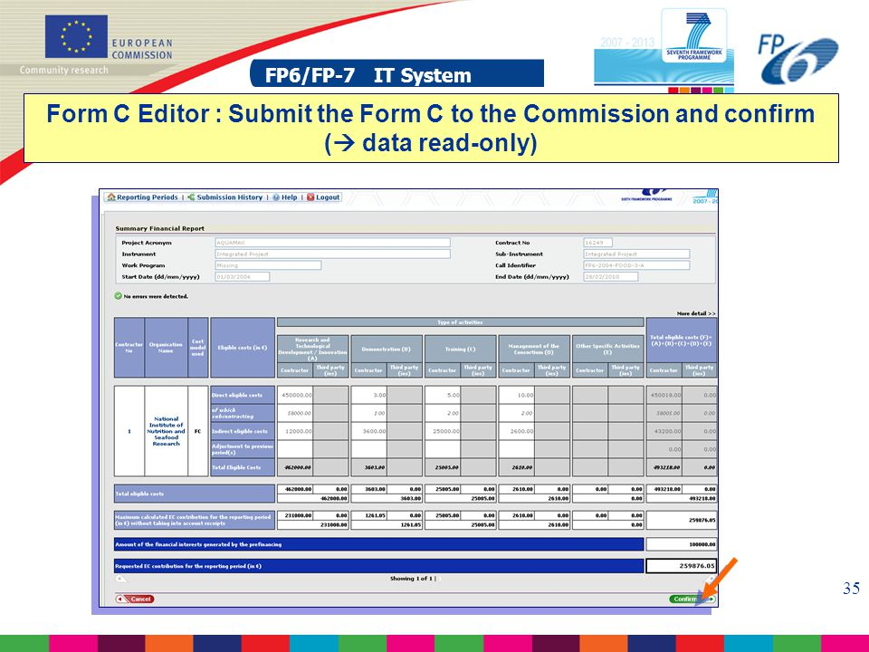 FP6/FP-7 IT System 35 FP6/FP-7 IT System Form C Editor : Submit the Form C to the Commission and confirm (  data read-only)