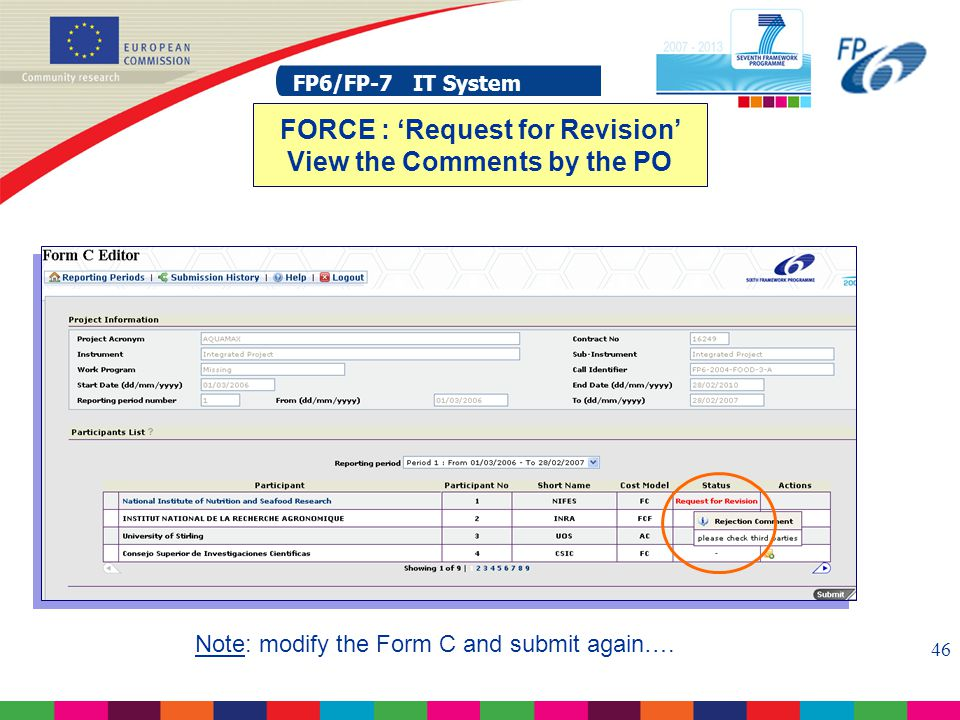 FP6/FP-7 IT System 46 FP6/FP-7 IT System FORCE : 'Request for Revision' View the Comments by the PO Note: modify the Form C and submit again….