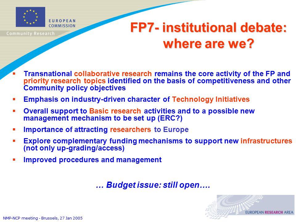 NMP-NCP meeting - Brussels, 27 Jan 2005 FP7- institutional debate: where are we.