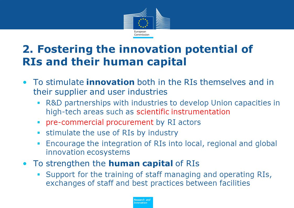 Policy Research and Innovation Research and Innovation 2. Fostering the innovation potential of RIs and their human capital To stimulate innovation bo