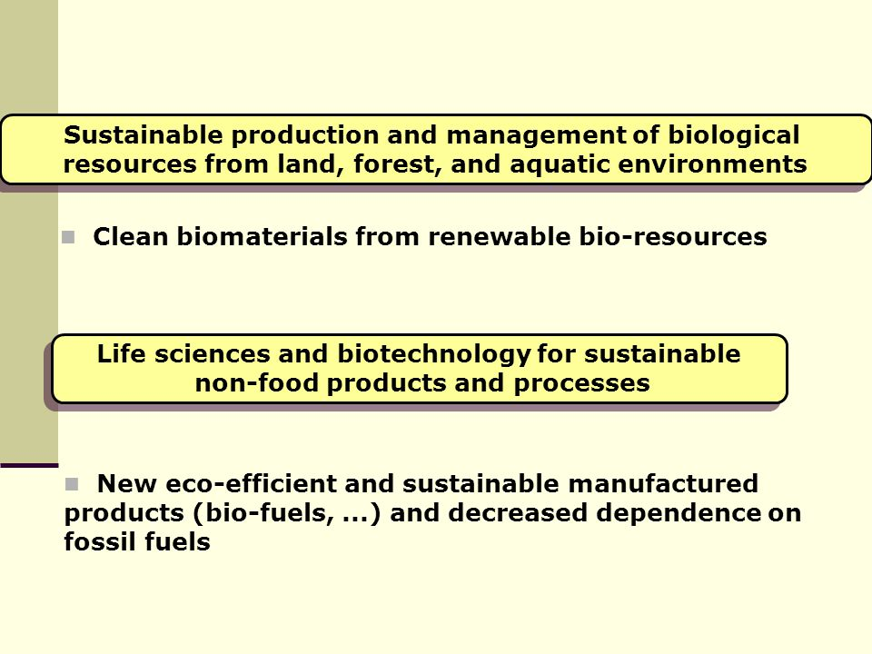 Sustainable production and management of biological resources from land, forest, and aquatic environments Sustainable production and management of bio