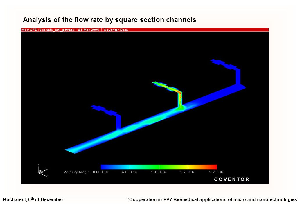 Analysis of the flow rate by square section channels Bucharest, 6 th of December Cooperation in FP7 Biomedical applications of micro and nanotechnologies