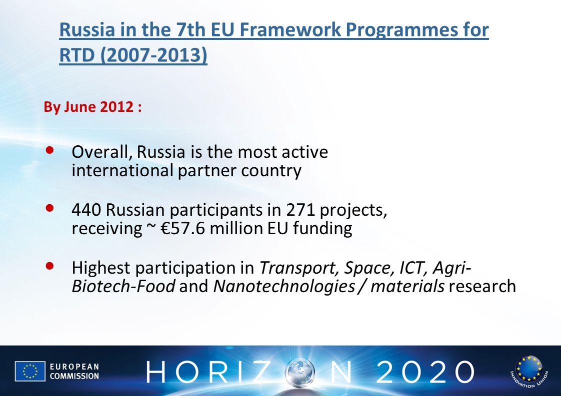Russia in the 7th EU Framework Programmes for RTD (2007-2013) By June 2012 : Overall, Russia is the most active international partner country 440 Russ