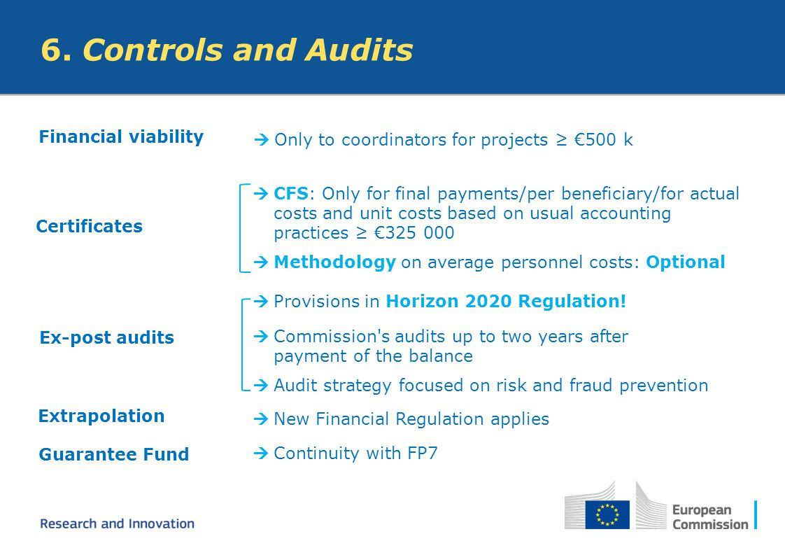 6. Controls and Audits Financial viability  Only to coordinators for projects ≥ €500 k Certificates  CFS: Only for final payments/per beneficiary/fo