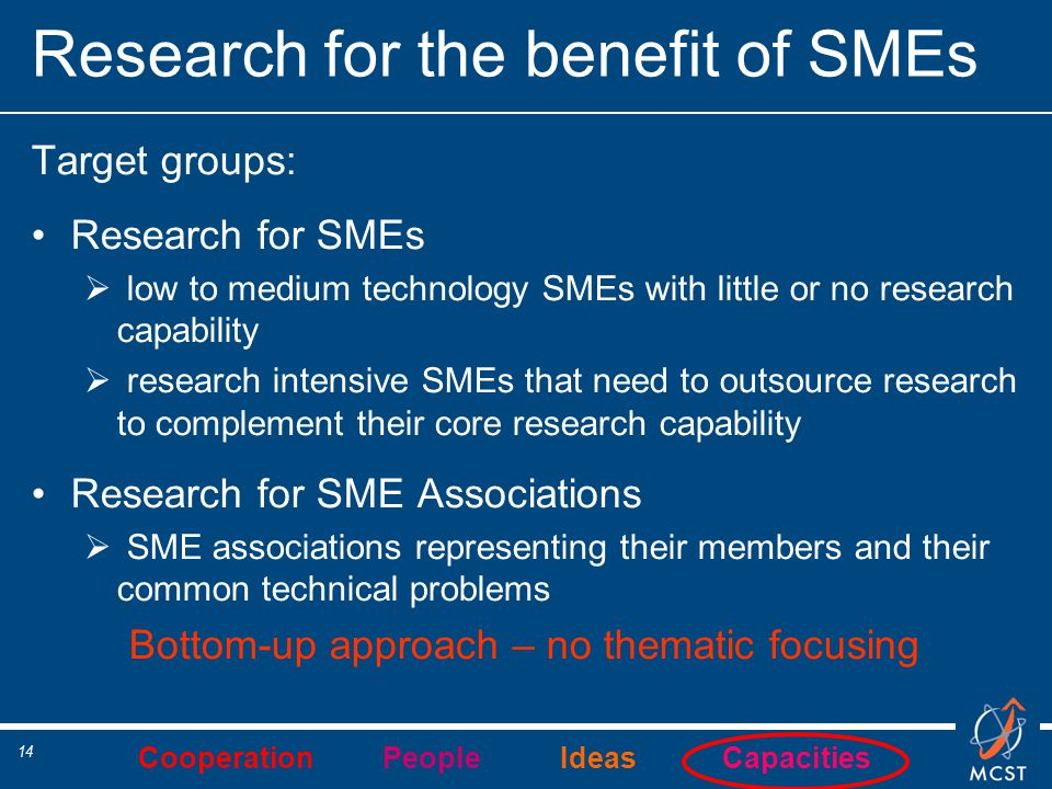 Cooperation People Ideas Capacities 14 Research for the benefit of SMEs Target groups: Research for SMEs  low to medium technology SMEs with little o