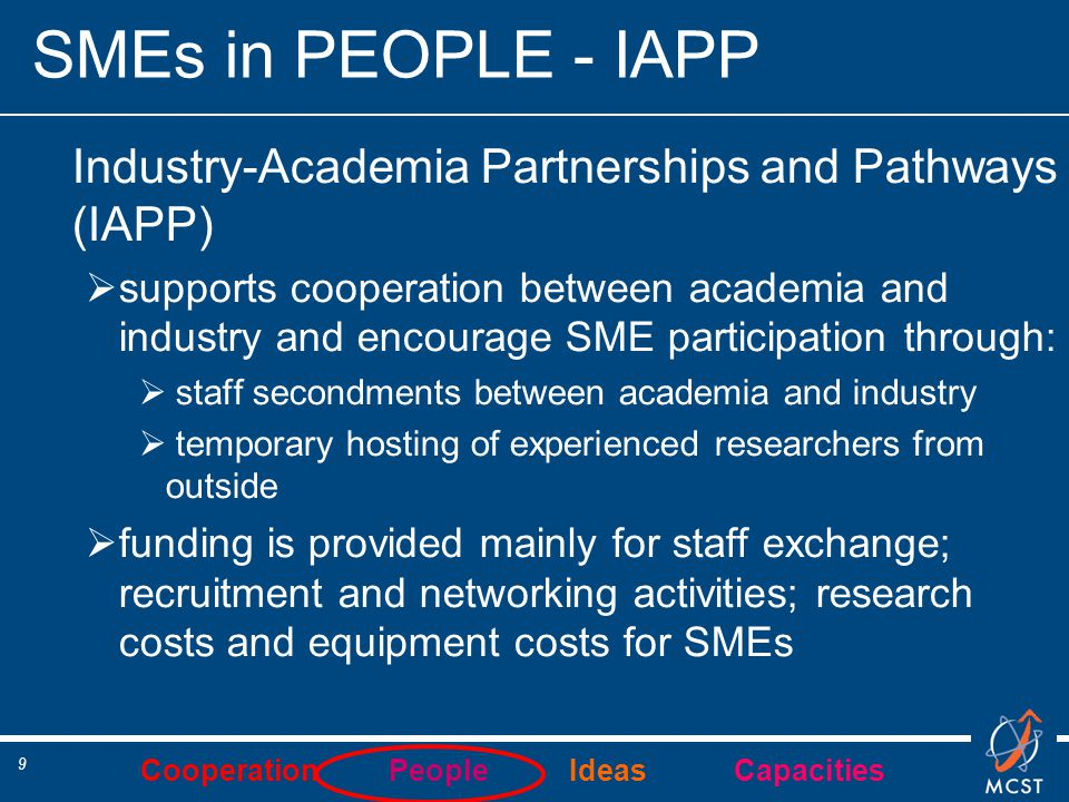 Cooperation People Ideas Capacities 9 SMEs in PEOPLE - IAPP Industry-Academia Partnerships and Pathways (IAPP)  supports cooperation between academia