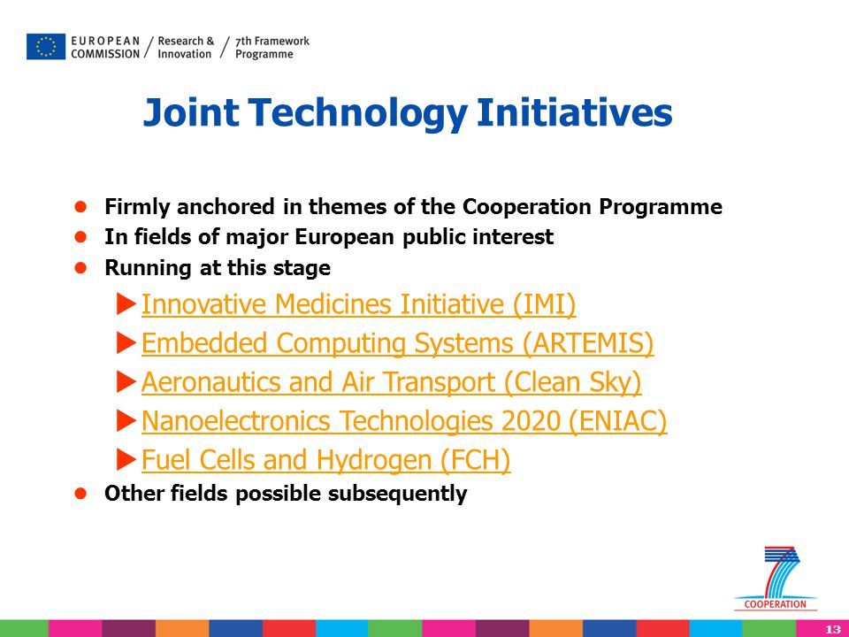 13 Joint Technology Initiatives ● Firmly anchored in themes of the Cooperation Programme ● In fields of major European public interest ● Running at this stage  Innovative Medicines Initiative (IMI) Innovative Medicines Initiative (IMI)  Embedded Computing Systems (ARTEMIS) Embedded Computing Systems (ARTEMIS)  Aeronautics and Air Transport (Clean Sky) Aeronautics and Air Transport (Clean Sky)  Nanoelectronics Technologies 2020 (ENIAC) Nanoelectronics Technologies 2020 (ENIAC)  Fuel Cells and Hydrogen (FCH) Fuel Cells and Hydrogen (FCH) ● Other fields possible subsequently