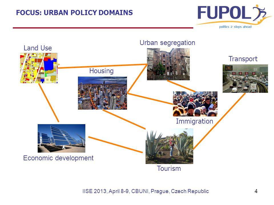 FOCUS: URBAN POLICY DOMAINS Land Use Transport Immigration Economic development Tourism Urban segregation Housing IISE 2013, April 8-9, CBUNI, Prague, Czech Republic4