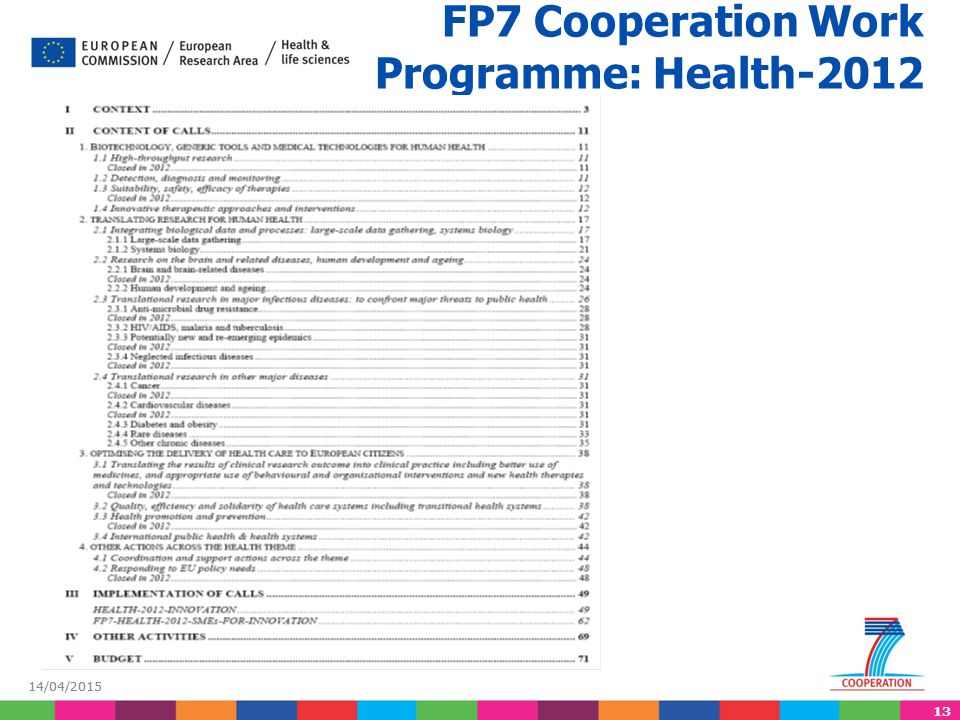 13 14/04/2015 FP7 Cooperation Work Programme: Health-2012
