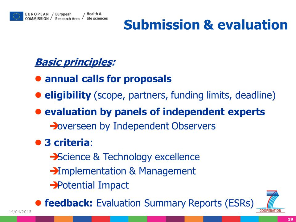 19 14/04/2015 Submission & evaluation Basic principles: annual calls for proposals eligibility (scope, partners, funding limits, deadline) evaluation