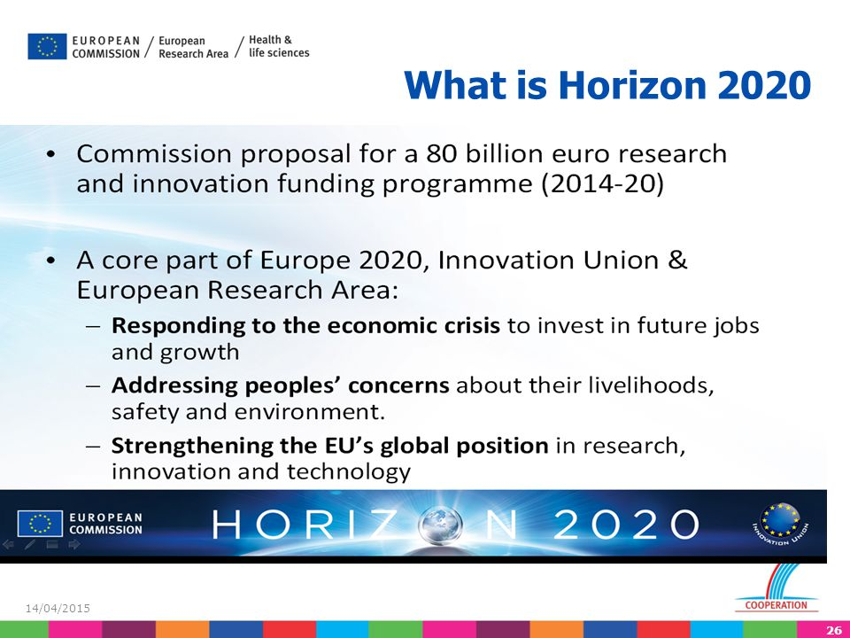 26 14/04/2015 What is Horizon 2020