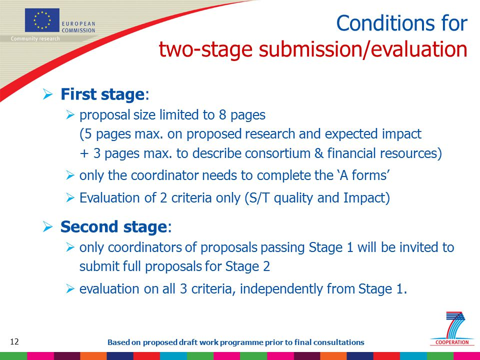 12 Based on proposed draft work programme prior to final consultations Conditions for two-stage submission/evaluation  First stage:  proposal size l