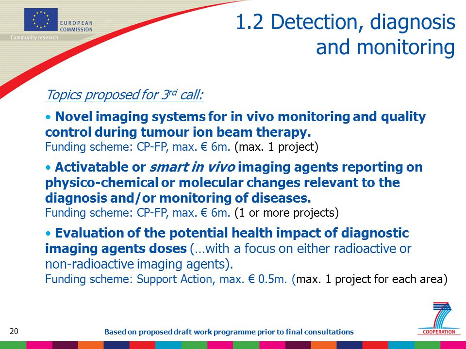 20 Based on proposed draft work programme prior to final consultations 1.2 Detection, diagnosis and monitoring Topics proposed for 3 rd call: Novel imaging systems for in vivo monitoring and quality control during tumour ion beam therapy.