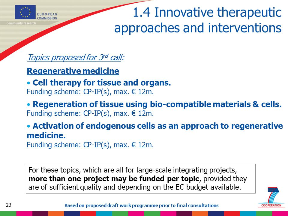 23 Based on proposed draft work programme prior to final consultations 1.4 Innovative therapeutic approaches and interventions Topics proposed for 3 r