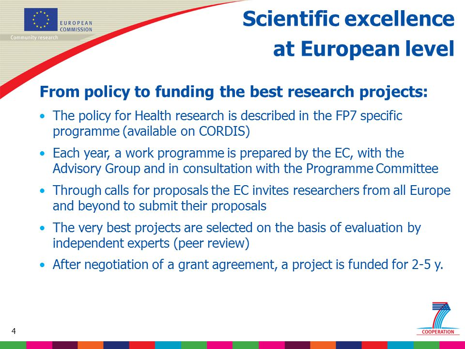 45 Based on proposed draft work programme prior to final consultations Collaborative research on the Health theme 4.