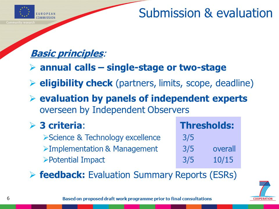 6 Based on proposed draft work programme prior to final consultations Submission & evaluation Basic principles:  annual calls – single-stage or two-s