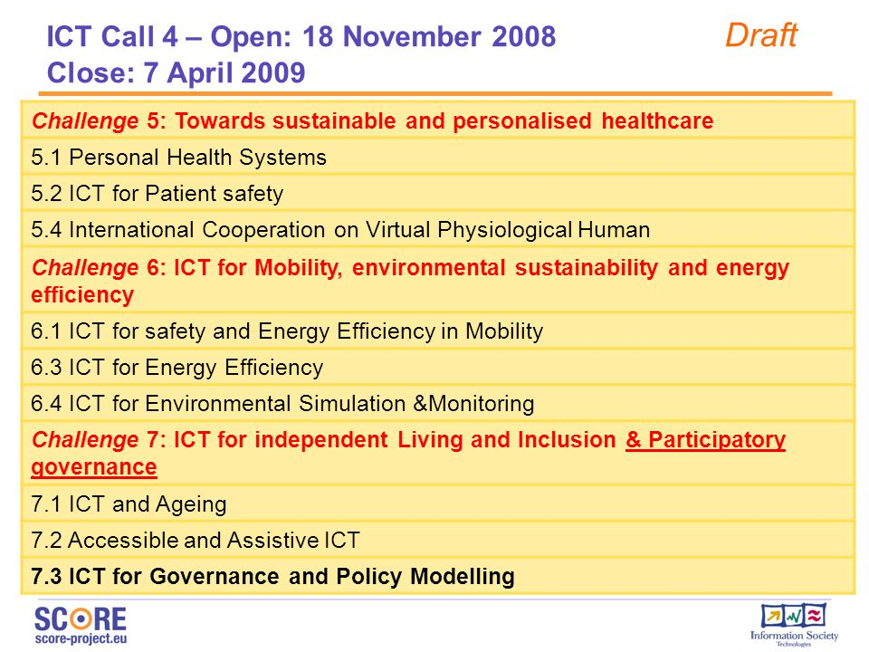 Challenge 5: Towards sustainable and personalised healthcare 5.1 Personal Health Systems 5.2 ICT for Patient safety 5.4 International Cooperation on Virtual Physiological Human Challenge 6: ICT for Mobility, environmental sustainability and energy efficiency 6.1 ICT for safety and Energy Efficiency in Mobility 6.3 ICT for Energy Efficiency 6.4 ICT for Environmental Simulation &Monitoring Challenge 7: ICT for independent Living and Inclusion & Participatory governance 7.1 ICT and Ageing 7.2 Accessible and Assistive ICT 7.3 ICT for Governance and Policy Modelling ICT Call 4 – Open: 18 November 2008 Draft Close: 7 April 2009