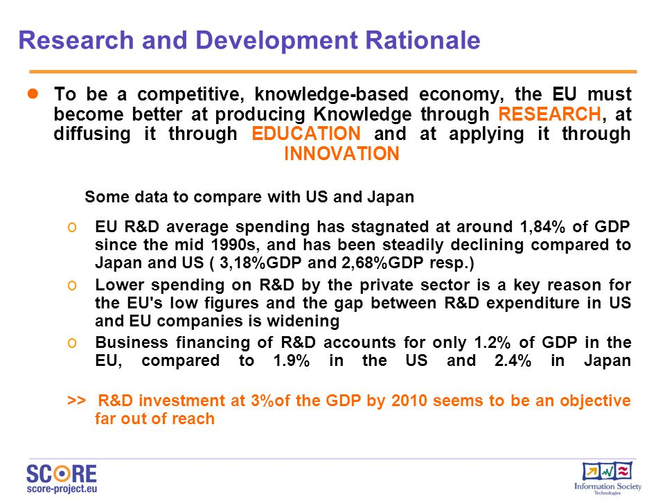 Research and Development Rationale ● To be a competitive, knowledge-based economy, the EU must become better at producing Knowledge through RESEARCH, at diffusing it through EDUCATION and at applying it through INNOVATION Some data to compare with US and Japan o EU R&D average spending has stagnated at around 1,84% of GDP since the mid 1990s, and has been steadily declining compared to Japan and US ( 3,18%GDP and 2,68%GDP resp.) o Lower spending on R&D by the private sector is a key reason for the EU s low figures and the gap between R&D expenditure in US and EU companies is widening o Business financing of R&D accounts for only 1.2% of GDP in the EU, compared to 1.9% in the US and 2.4% in Japan >> R&D investment at 3%of the GDP by 2010 seems to be an objective far out of reach