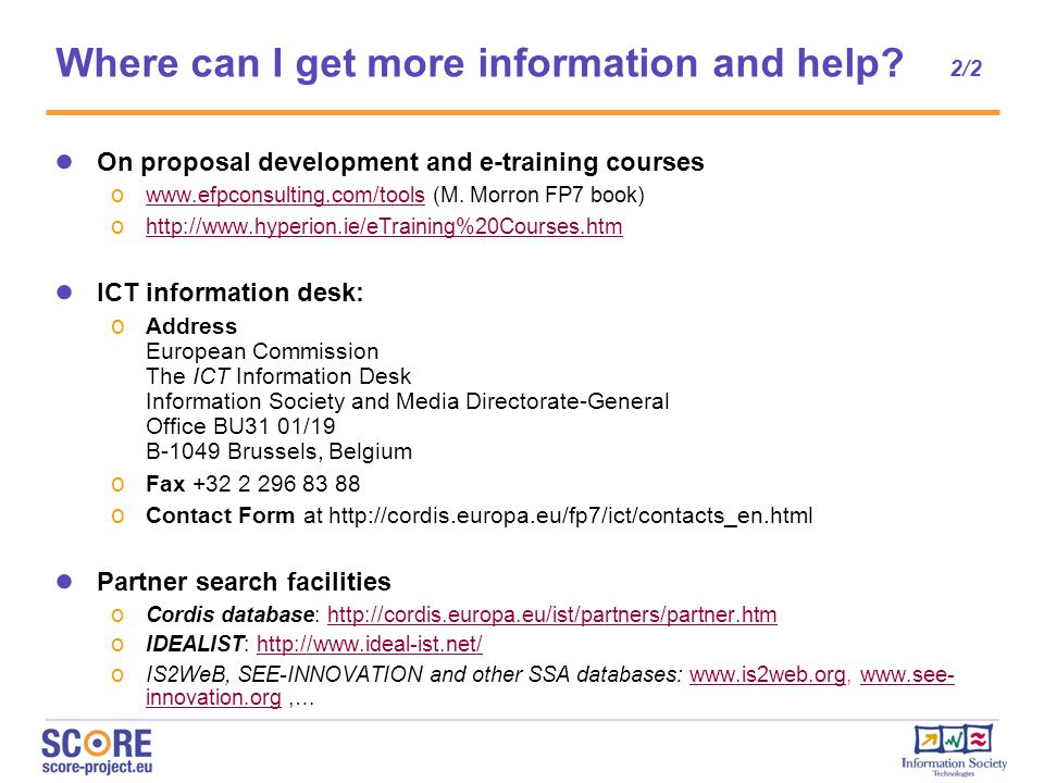 ● On proposal development and e-training courses o www.efpconsulting.com/tools (M.