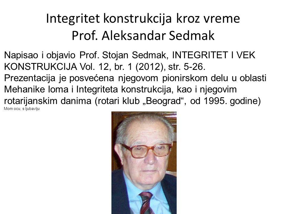 Integritet konstrukcija kroz vreme Prof. Aleksandar Sedmak Napisao i objavio Prof.